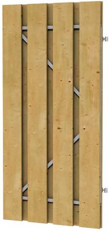 Grenen fijnbezaagde plankendeur op verstelbaar stalen frame 100x200 cm, recht, groen geïmpregneerd (W07540)