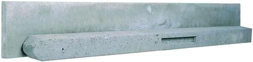 Betonpaal stampbeton 10x10x310cm grijs tussenpaal t.b.v. recht scherm met 2 betonplaten (W13013)