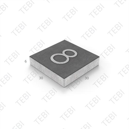 Symbooltegel 30x30x6cm - 1 cijfer zwart/wit