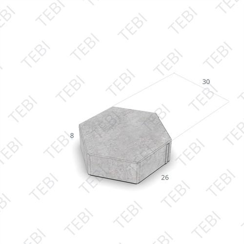 Zeskanttegel KOMO 30-26cm 8cm grijs