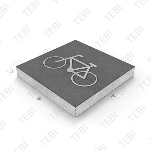 Symbooltegel 60x60x8cm Fiets zwart/wit
