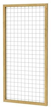 Eco gaastrellis met maas 7,5x7,5 cm, in grenen raamwerk 4,5x4,5 cm, 90x180 cm, groen geïmpregneerd (W08326)