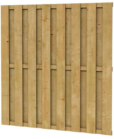 Grenen geschaafd plankenscherm 18-planks 15 mm, 179x179 cm, recht, groen geïmpregneerd (924406)