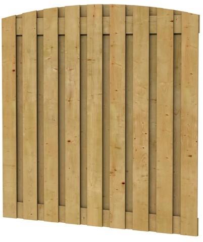 Grenen geschaafd plankenscherm 19-planks 15 mm, 180x180 cm, verticaal toog, groen geïmpregneerd (W08177)