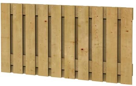 Grenen geschaafd plankenscherm 21-planks 17 mm, 180x89 cm, verticaal recht, groen geïmpregneerd (W08101)