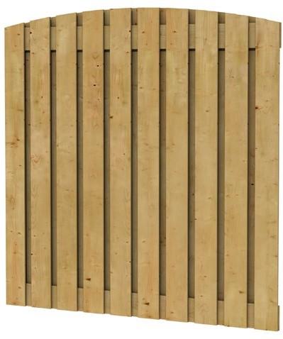 Grenen geschaafd plankenscherm 21-planks 17 mm, 180x180 cm, verticaal toog, groen geïmpregneerd (W08125)