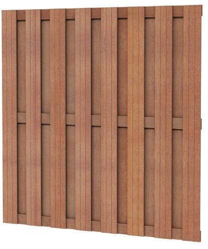 Hardhouten plankenscherm recht verticaal / horizontaal 180x180cm (W14364)