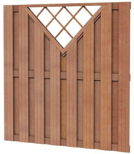 Hardhouten plankenscherm recht verticaal met V-trellis 180x180cm (W14369)