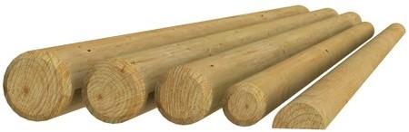 Ronde paal cilindrisch gefreesd haaks gekort 1 zijde gekroond, Ø 10x400cm (W04616)
