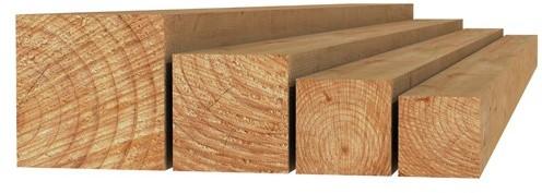 Douglas fijnbezaagde paal 10x10x300cm onbehandeld (W31440)