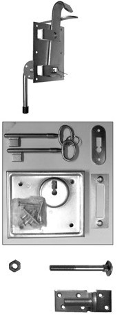 Boeren klinkstel met kelderbandslot en duimen, t.b.v. deuren op stalen frame (W19006)