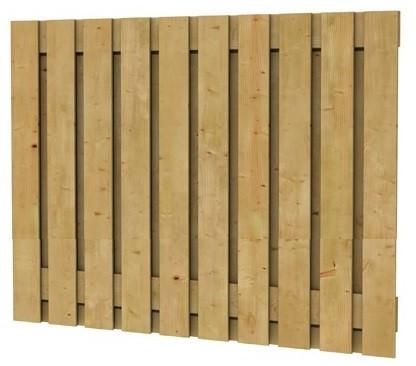 Grenen geschaafd plankenscherm 21-planks 17 mm, 180x130 cm, verticaal recht, groen geïmpregneerd (W08107)