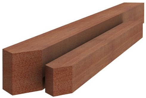 Hardhouten paal fijnbezaagd, gepunt 4x4x100cm (W14210)
