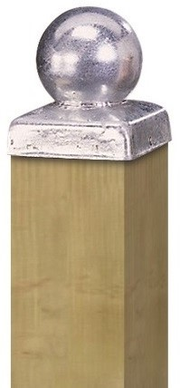 Paalornament bol op plaat 9x9cm metaal verzinkt (W19502)