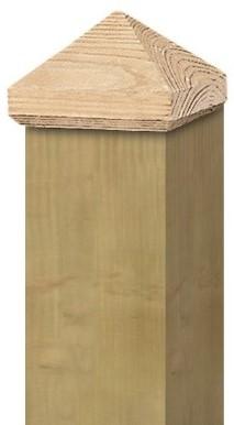 Paalornament piramide 7x7cm hout (W19517)