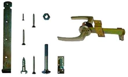 Klinkstel met hengen en duimen, t.b.v. houten deuren (W19002)