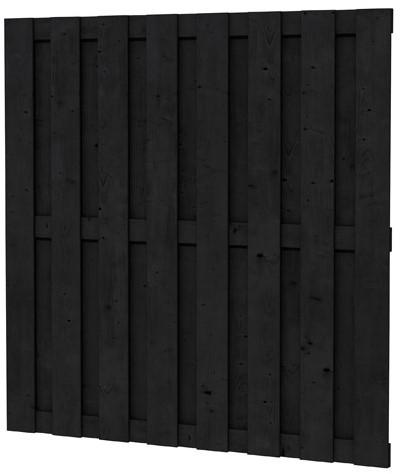 Grenen geschaafd plankenscherm 18-planks 15 mm, 180x180 cm, recht, zwart gedompeld. (1007181)