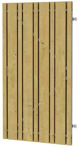 Geschaafde plankendeur vuren Linia op verstelbaar stalen frame, 100x180cm (W08150)