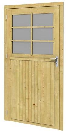 Vuren enkele 6-ruits deur extra breed linksdraaiend inclusief kozijn 114x201,5cm onbehandeld (51415)