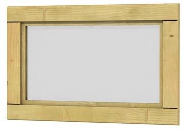 Vuren vast raam met melkglas, 72x45cm groen geïmpr. (1004224)