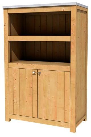 Hillhout douglas dubbele buitenkeuken 168x109x56cm met 3 schappen en deuren. (1006137)