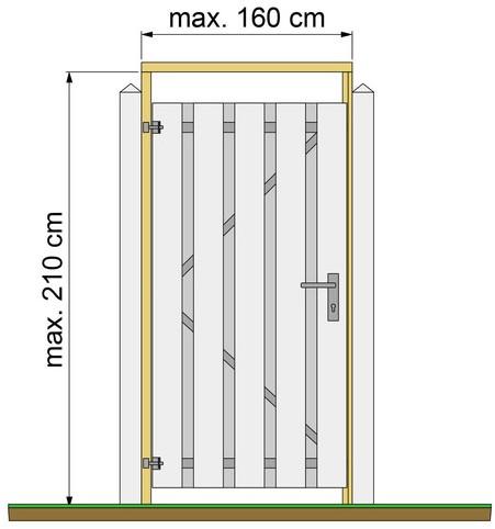 Tuindeurkozijn douglas met aanslaglat, max. 160cm breed (W07536)
