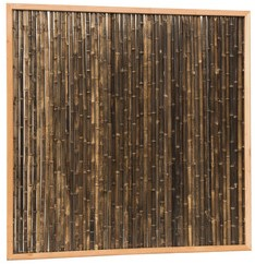 Bamboescherm van zwarte bamboestokken in douglas frame, 186x186cm (W17078)