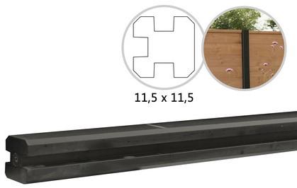 Betowood betonpaal t.b.v. schutting 11,5x11,5x277, antraciet T-paal, gecoat (W32110)