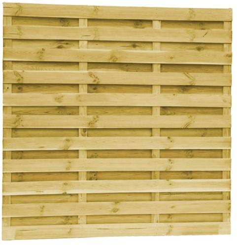 Grenen fijnbezaagd lamellenscherm, 4 regels, 21 lamellen, recht, groen geïmpregneerd (W08255)