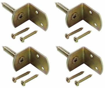 L-beslag inclusief schroeven, 4 stuks op kaart, geel verzinkt (W19007)