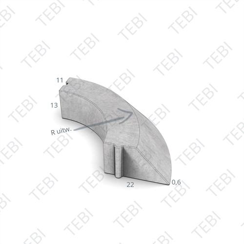 Bochtstuk 11/22x13cm Uitw. R=0,5 grijs