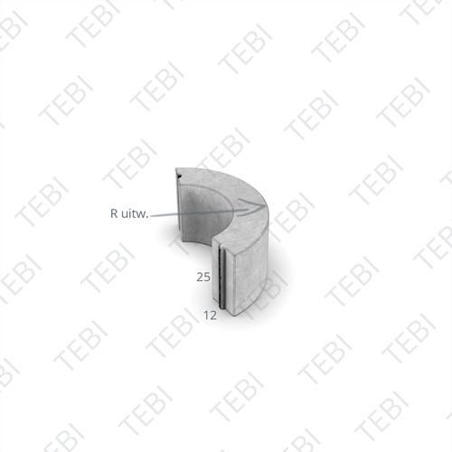 Bochtstuk 12x25cm R=3 grijs