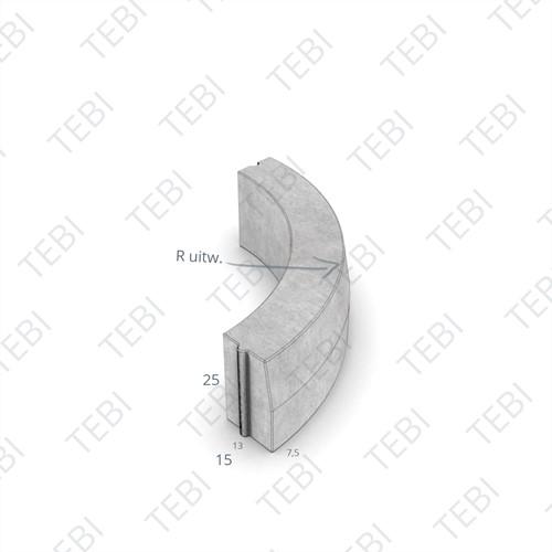 Bochtstuk 13/15x25cm R=3 Uitw uitgew bont