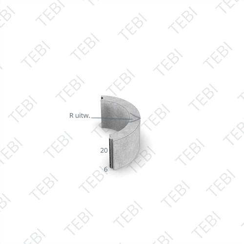 Bochtstuk 6x20cm R=1 grijs