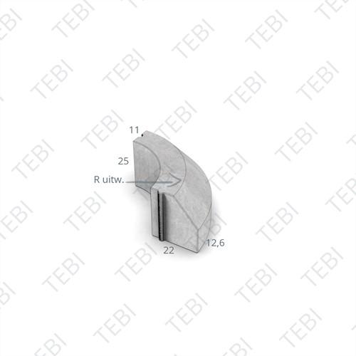 Bochtstuk 11/22x25cm Uitw. R=15 grijs