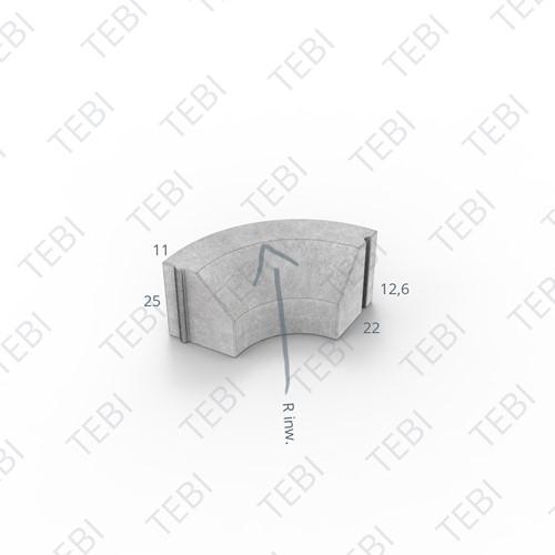 Bochtstuk 11/22x25cm Inw. R=5 grijs