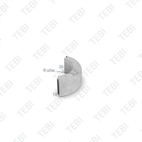 Gazonbocht 10x20cm R=1 uitw. uitgew. grijs