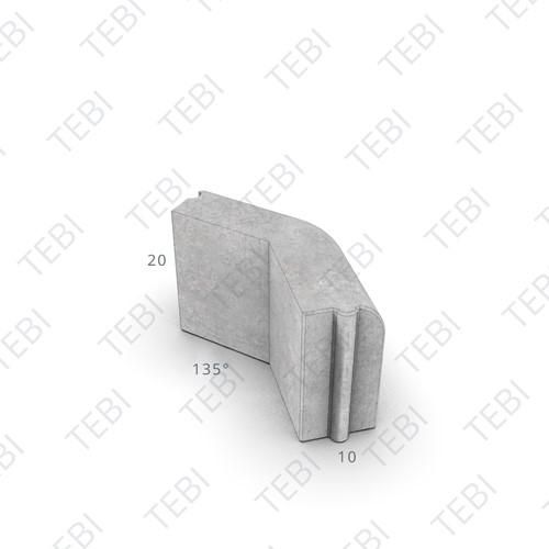 Gazonhoek 10x20cm 135º uitw. grijs