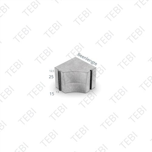 Hoekblok 13/15x25cm Inw R=25 grijs