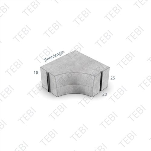 Hoekblok 18/20x25cm Inw R=25 grijs