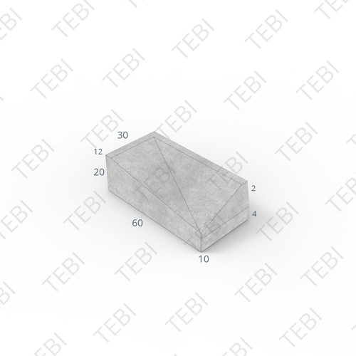 Inritband 60x30x20cm grijs rechts