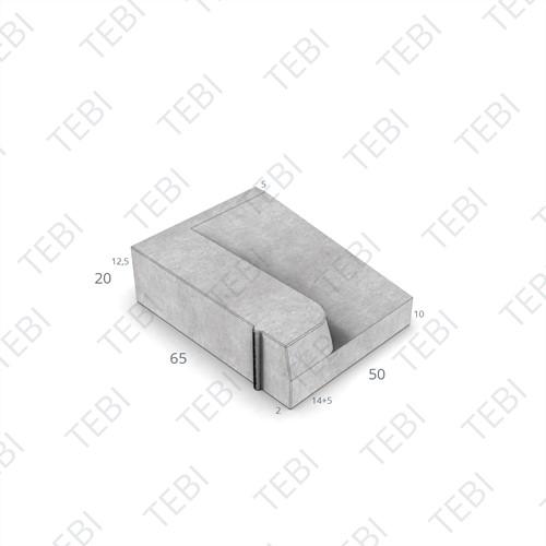 Inritband 65x50x20cm grijs links