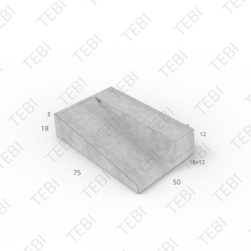 Inritband 75x50x18cm grijs rechts