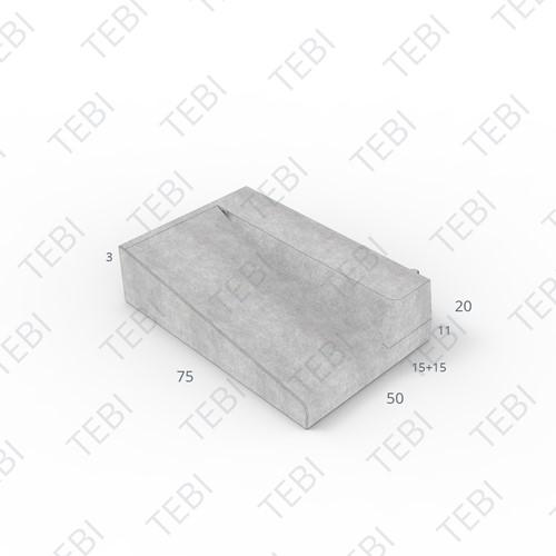 Inritband 75x50x20cm grijs rechts