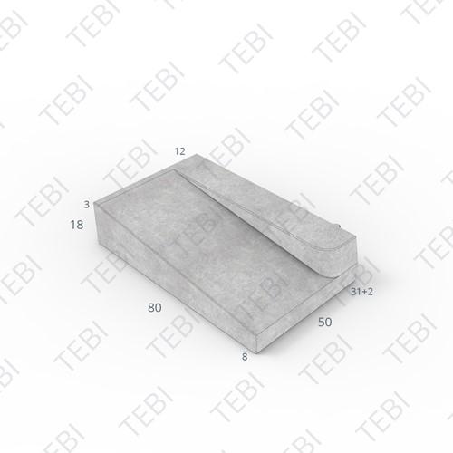 Inritband 80x50x18cm grijs rechts