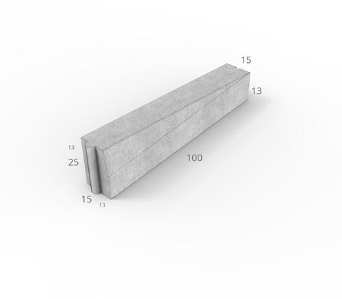 Inritverloopband 13/15x25/13x100cm grijs links