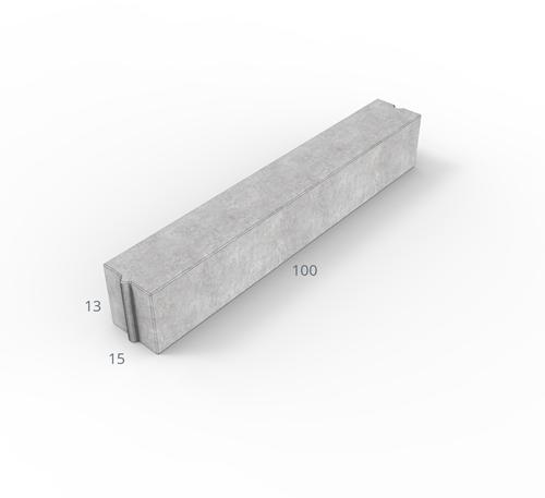 Inritverloopband 13/15x25/13x100cm grijs tussen