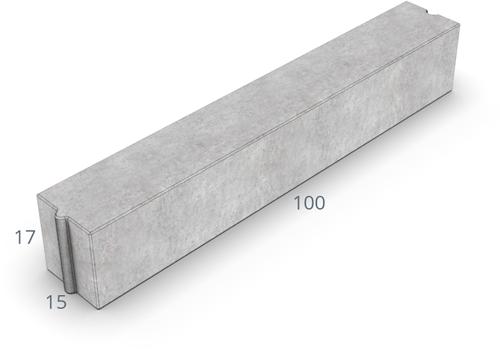 Inritverloopband 13/15x25/17x100cm grijs tussen
