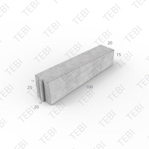 Inritverloopband 18/20x25/15x100cm grijs links