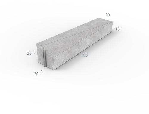 Inritverloopband 7/20x20x100cm grijs links